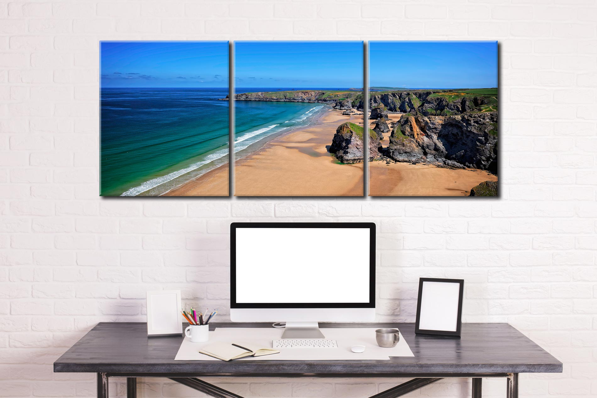 Bedruthan Beach Cornwall - 3 Panel Canvas on Wall