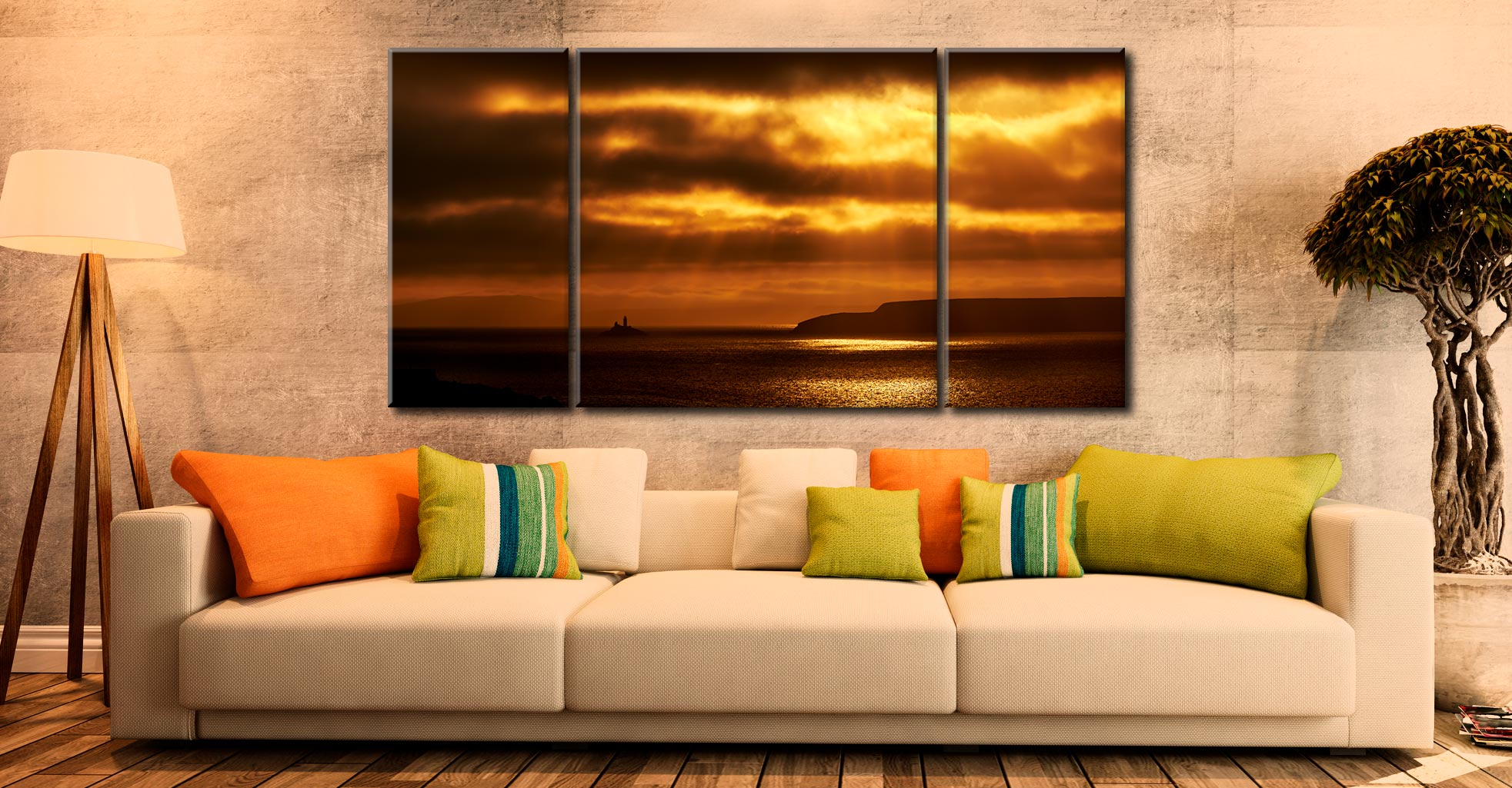 Golden Lighthouse St Ives Bay - 3 Panel Wide Centre Canvas on wall