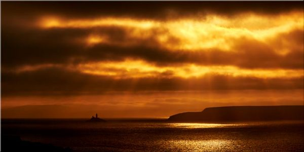 Golden Lighthouse St Ives Bay - Canvas Print