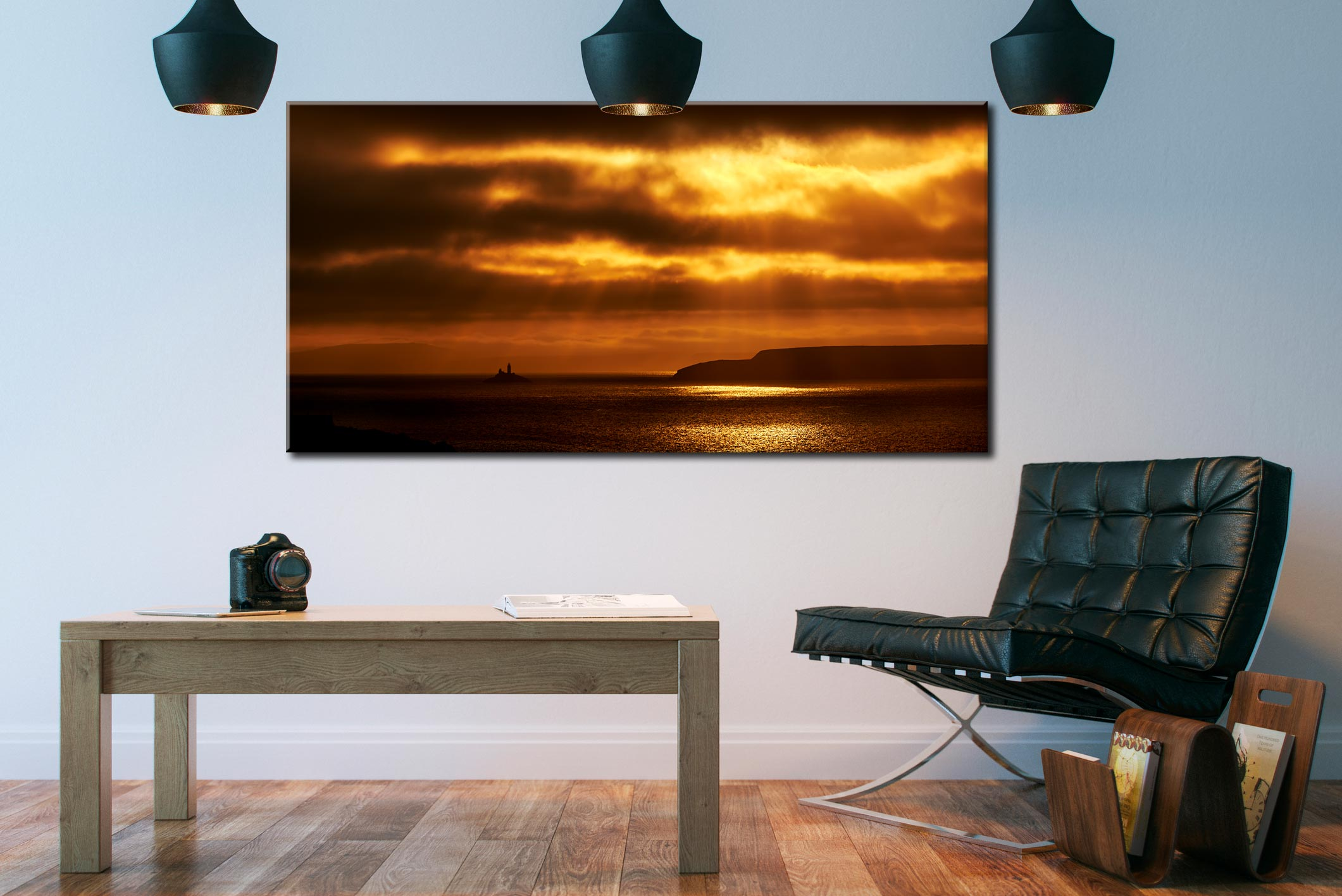 Golden Lighthouse St Ives Bay - Canvas Print on Wall
