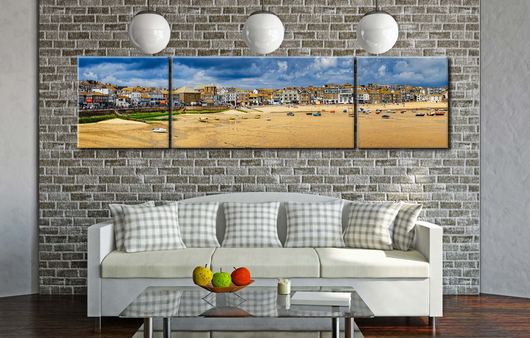 St Ives Cloudy Panorama 2 - 3 Panel Wide Centre Canvas on Wall