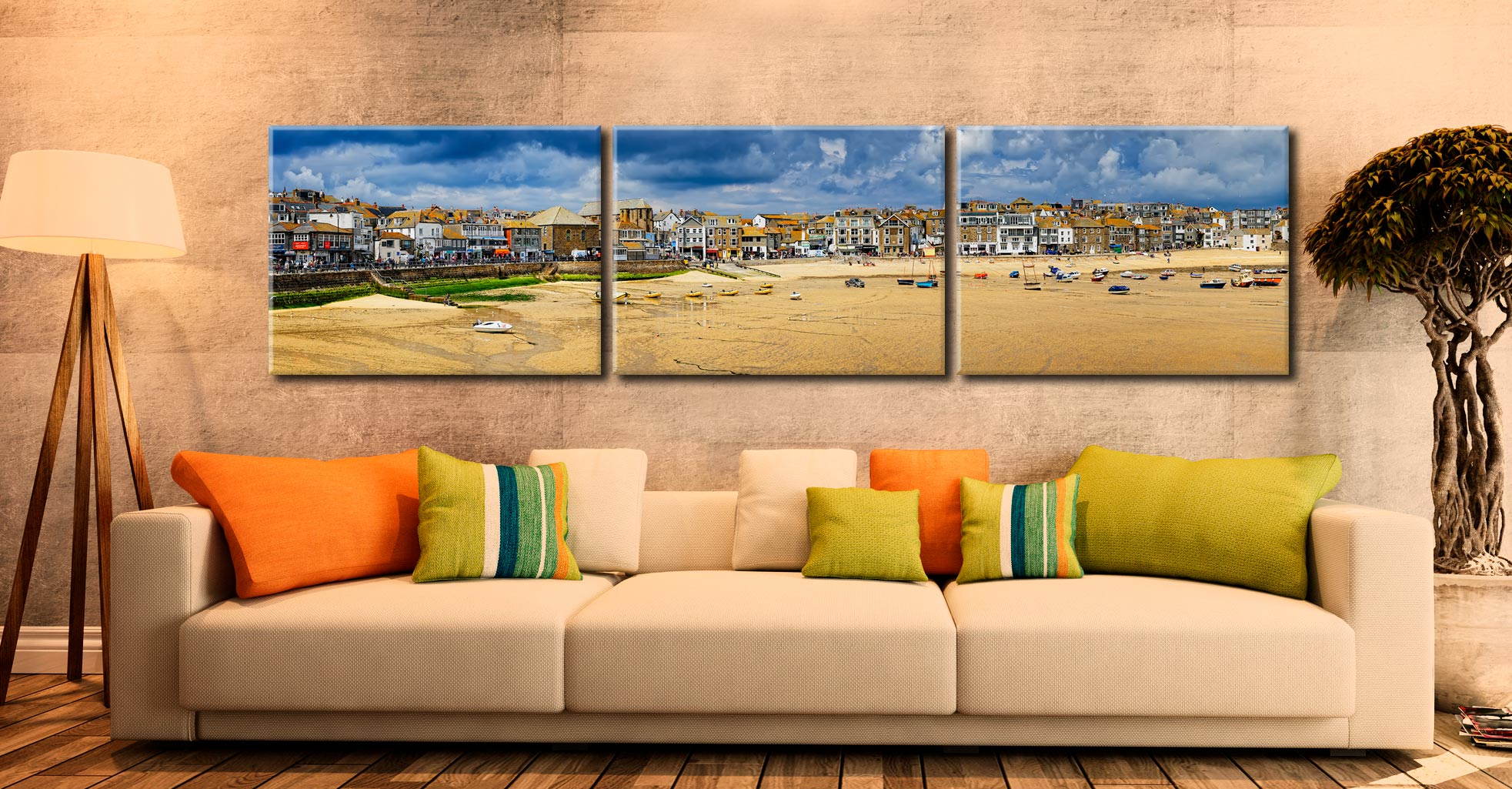 St Ives Cloudy Panorama 2 - 3 Panel Canvas on Wall