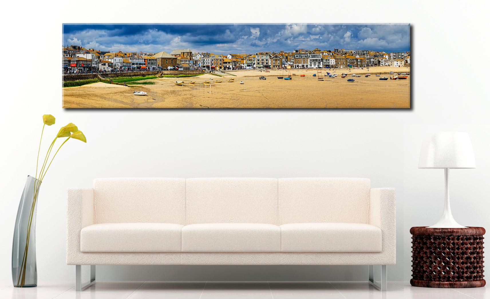 St Ives Cloudy Panorama 2 - Cornwall Canvas on Wall