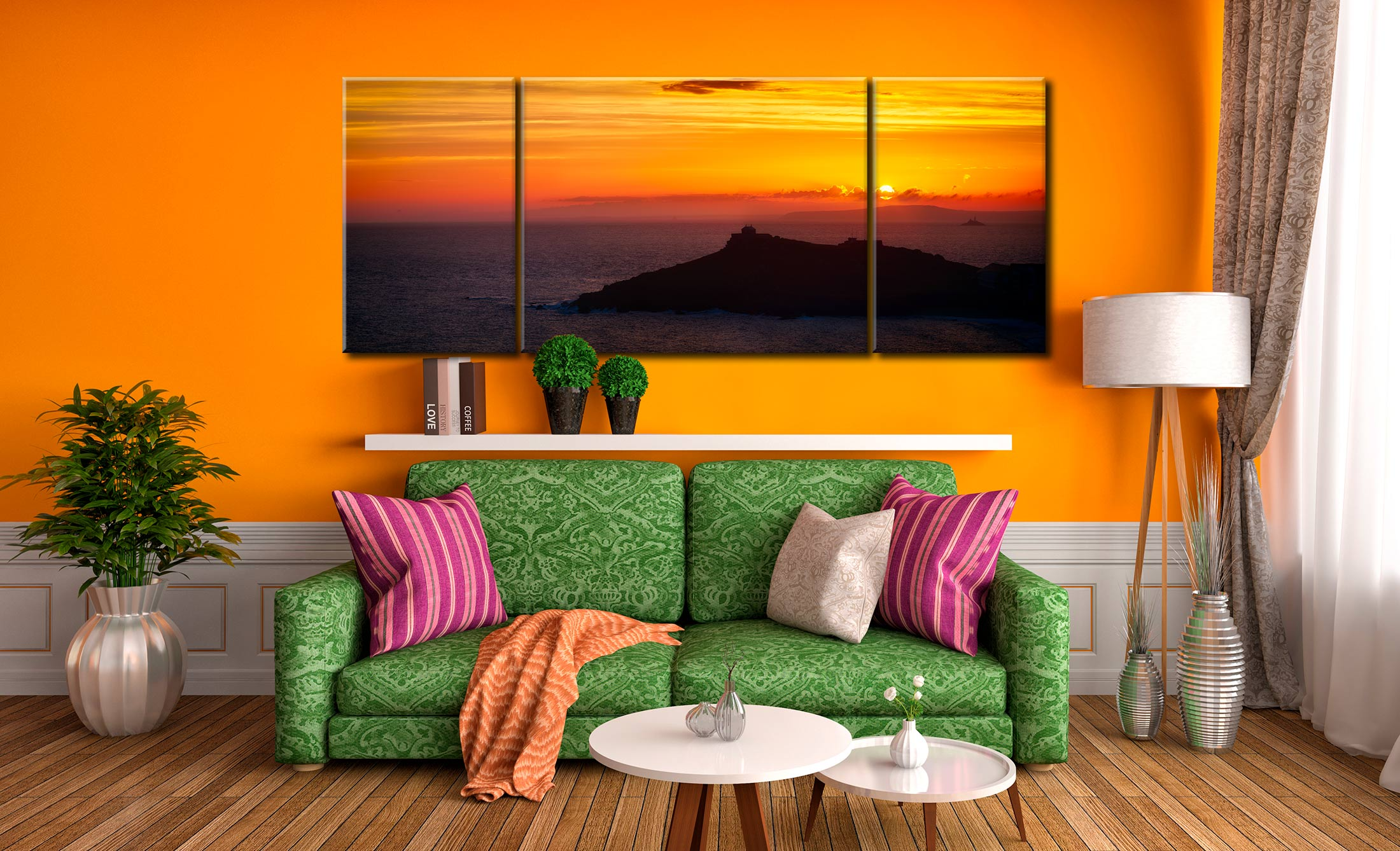 Sunrise Over St Ives Island - 3 Panel Wide Mid Canvas on Wall