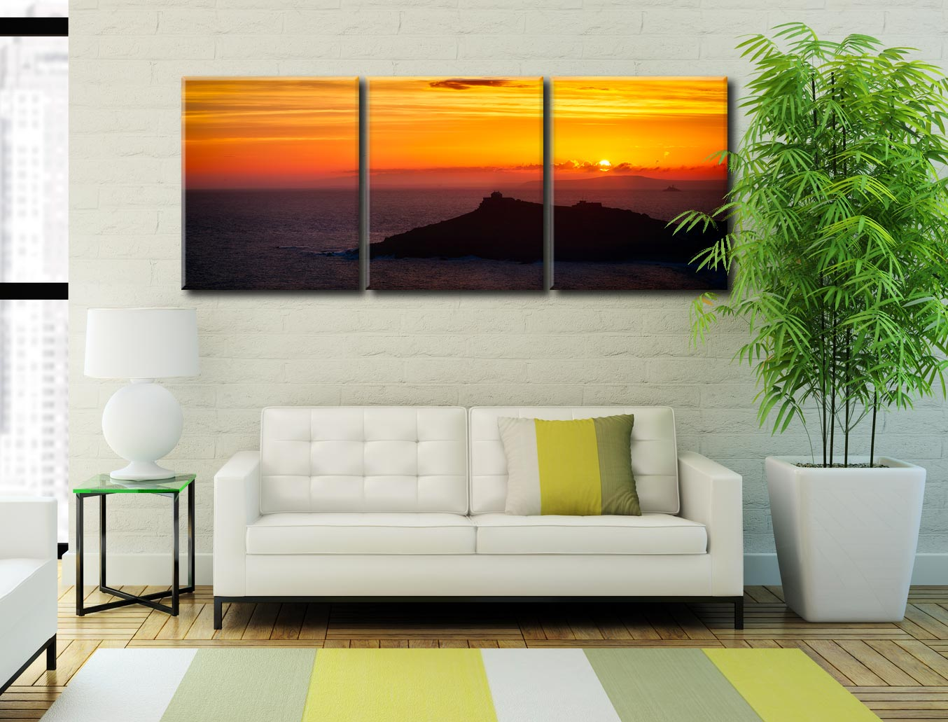 Sunrise Over St Ives Island - 3 Panel Canvas on Wall
