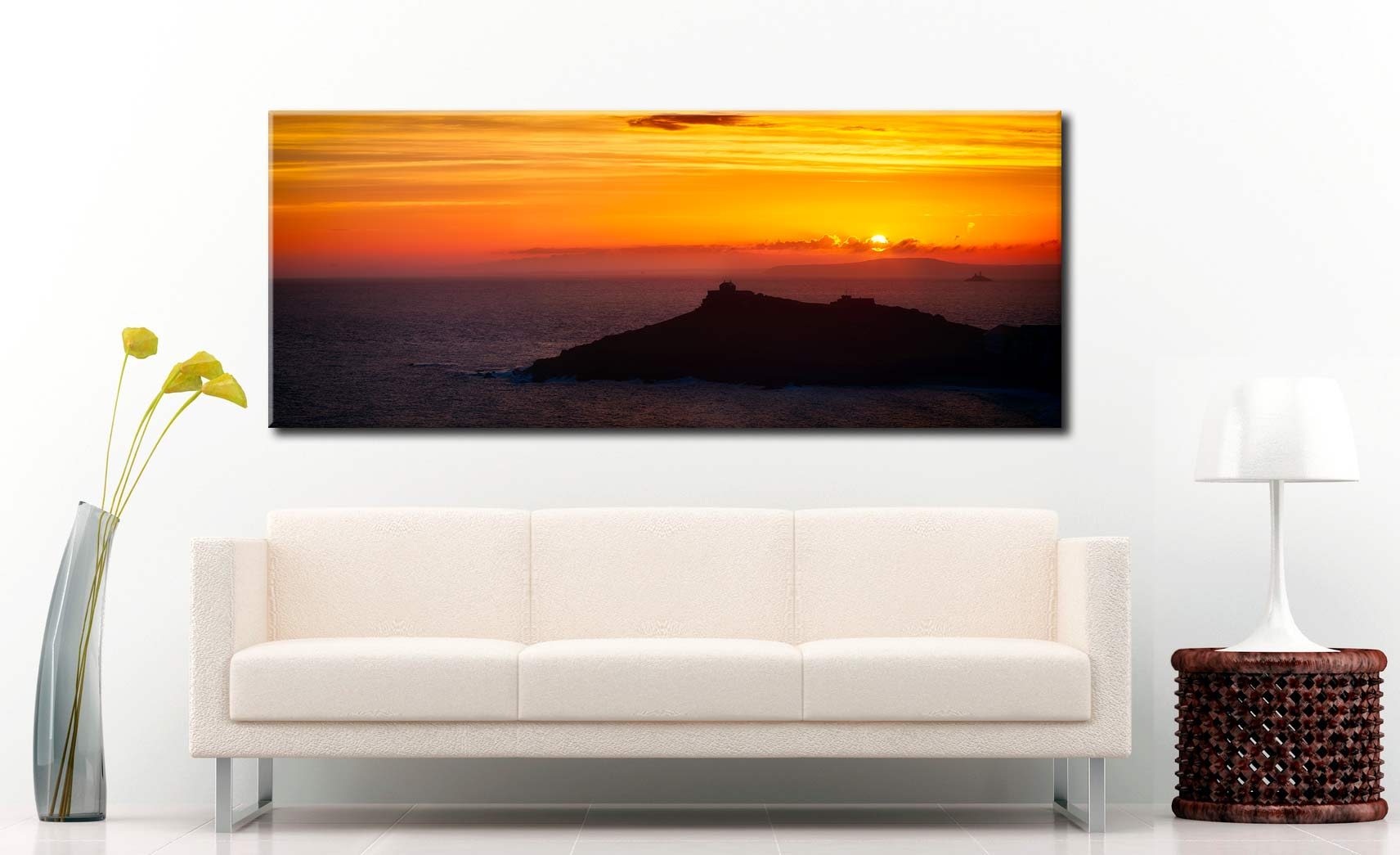 Sunrise Over St Ives Island - Canvas Print on Wall