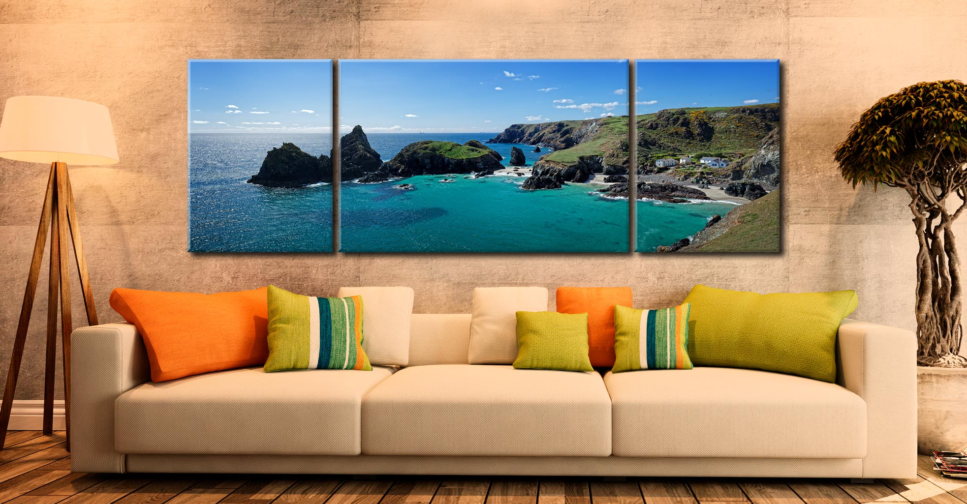 Kynance Cove Panorama - 3 Panel Wide Mid Canvas on Wall