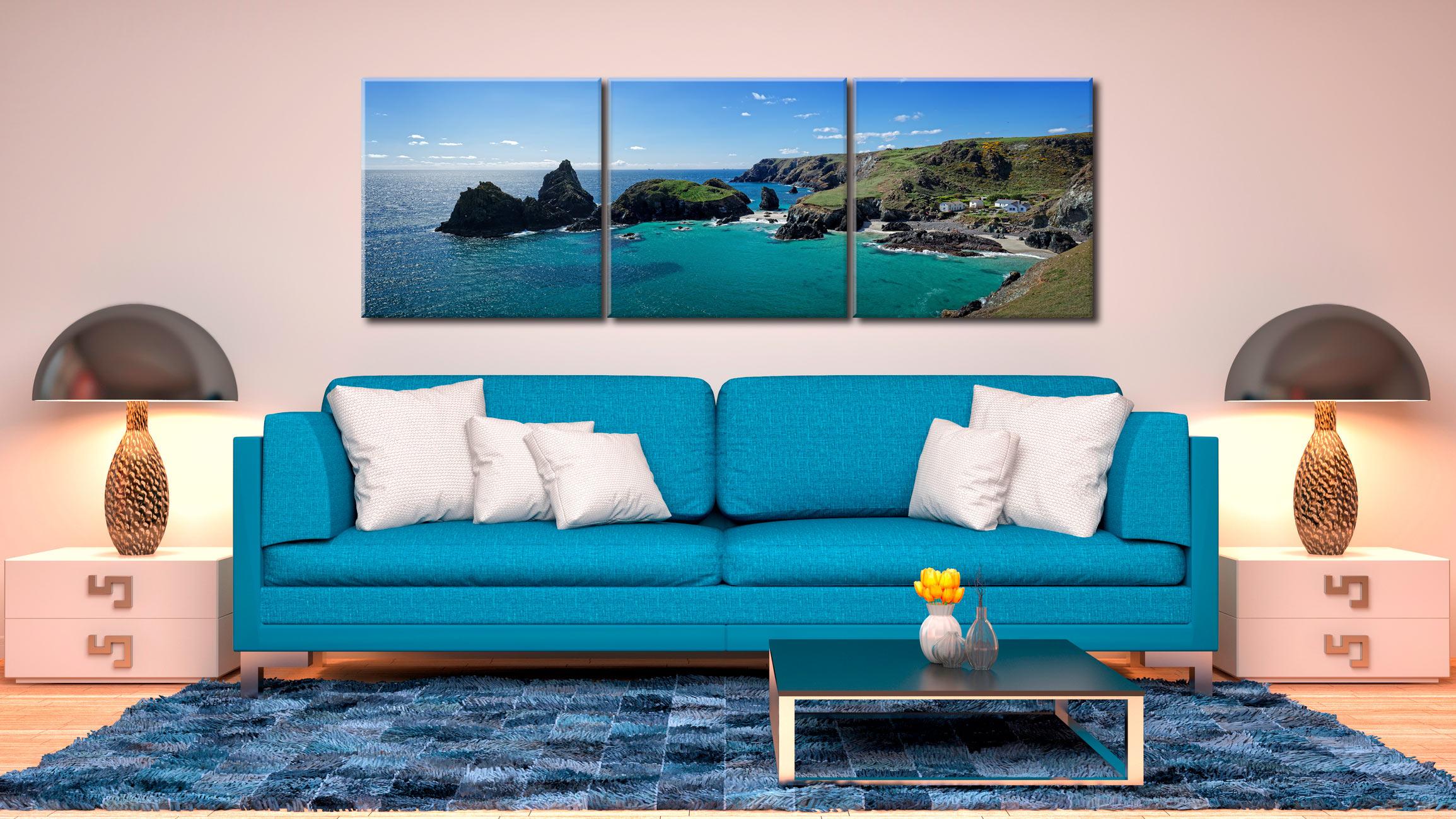 Kynance Cove Panorama - 3 Panel Canvas on Wall