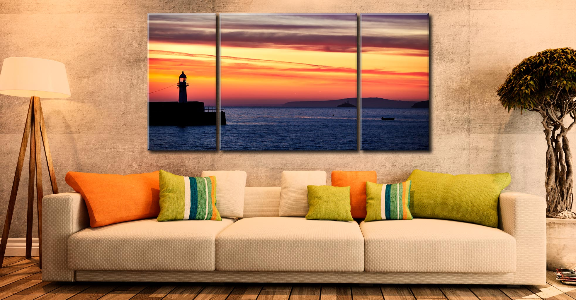 Dawn Harbour St Ives Lighthouse - 3 Panel Wide Centre Canvas on Wall