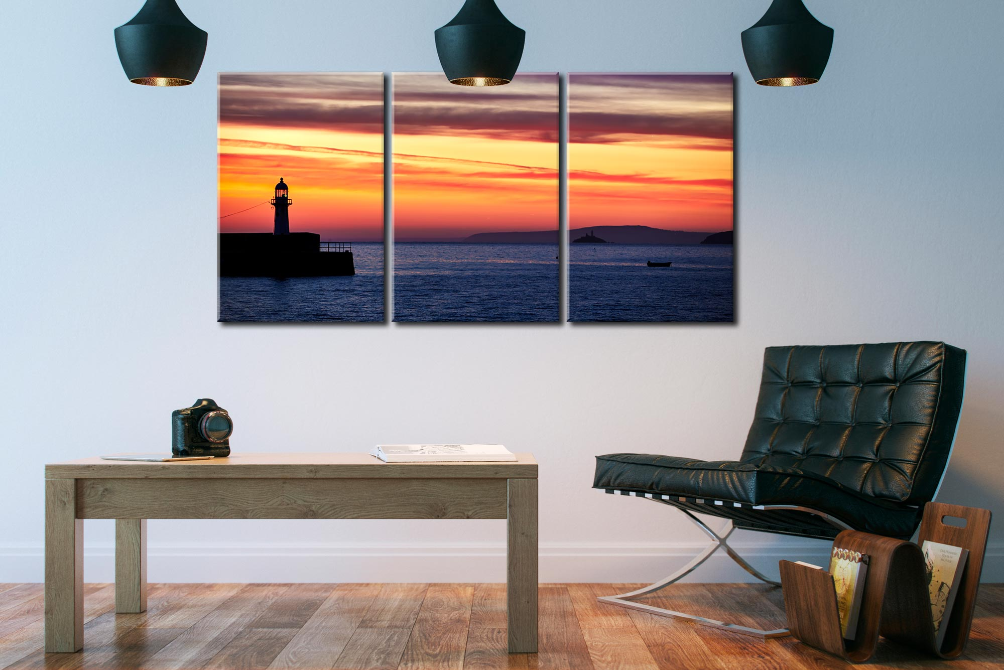 Dawn Harbour St Ives Lighthouse - 3 Panel Canvas on Wall