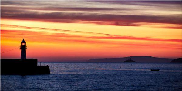 Dawn Harbour St Ives Lighthouse - Canvas Print