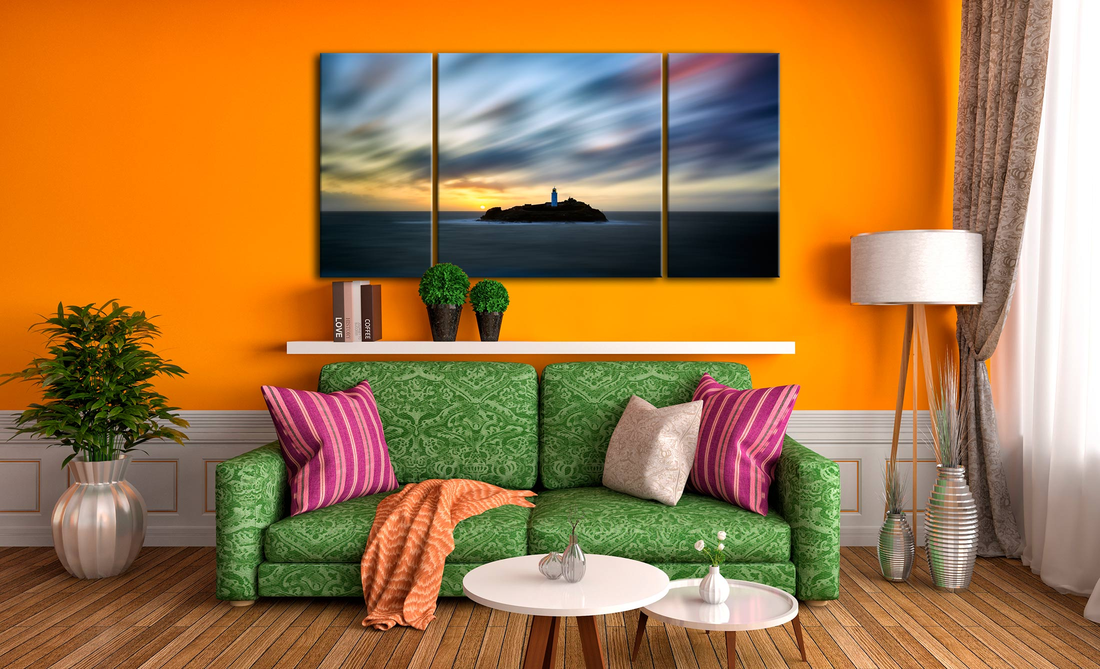 Windswept Sunset Godrevy Lighthouse - 3 Panel Wide Centre Canvas on Wall