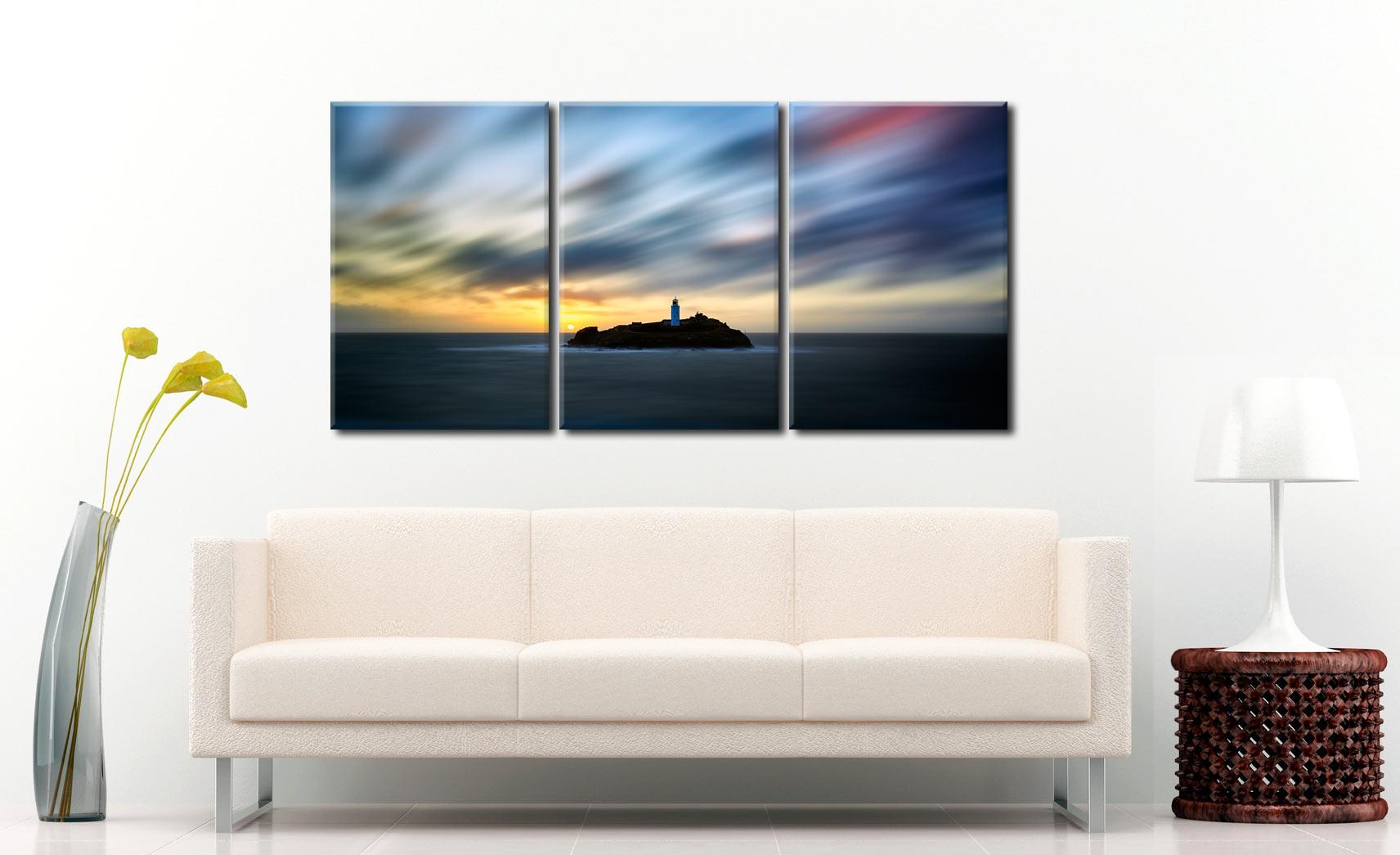 Windswept Sunset Godrevy Lighthouse - 3 Panel Canvas on Wall