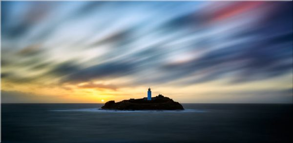 Windswept Sunset Godrevy Lighthouse - Canvas Print