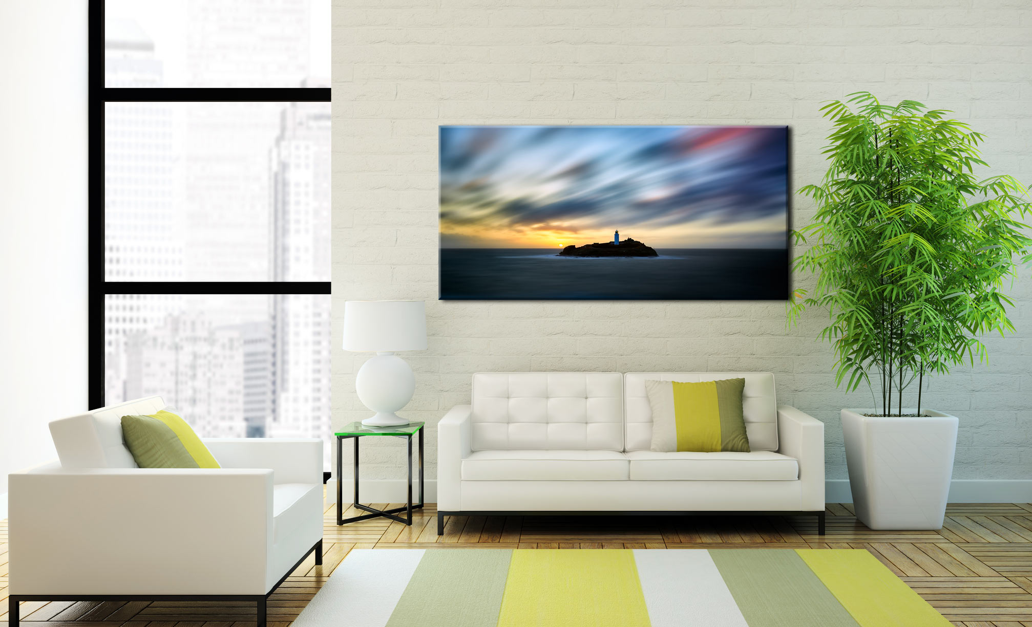 Windswept Sunset Godrevy Lighthouse - Canvas Print on Wall