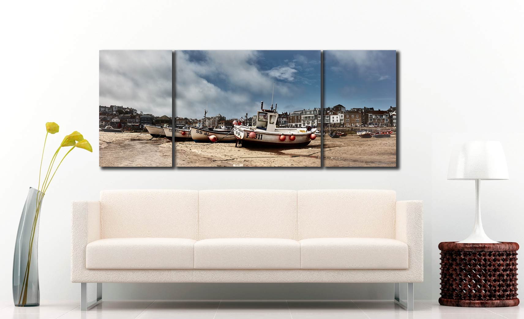 White Boats St Ives - 3 Panel Wide Mid Canvas on Wall