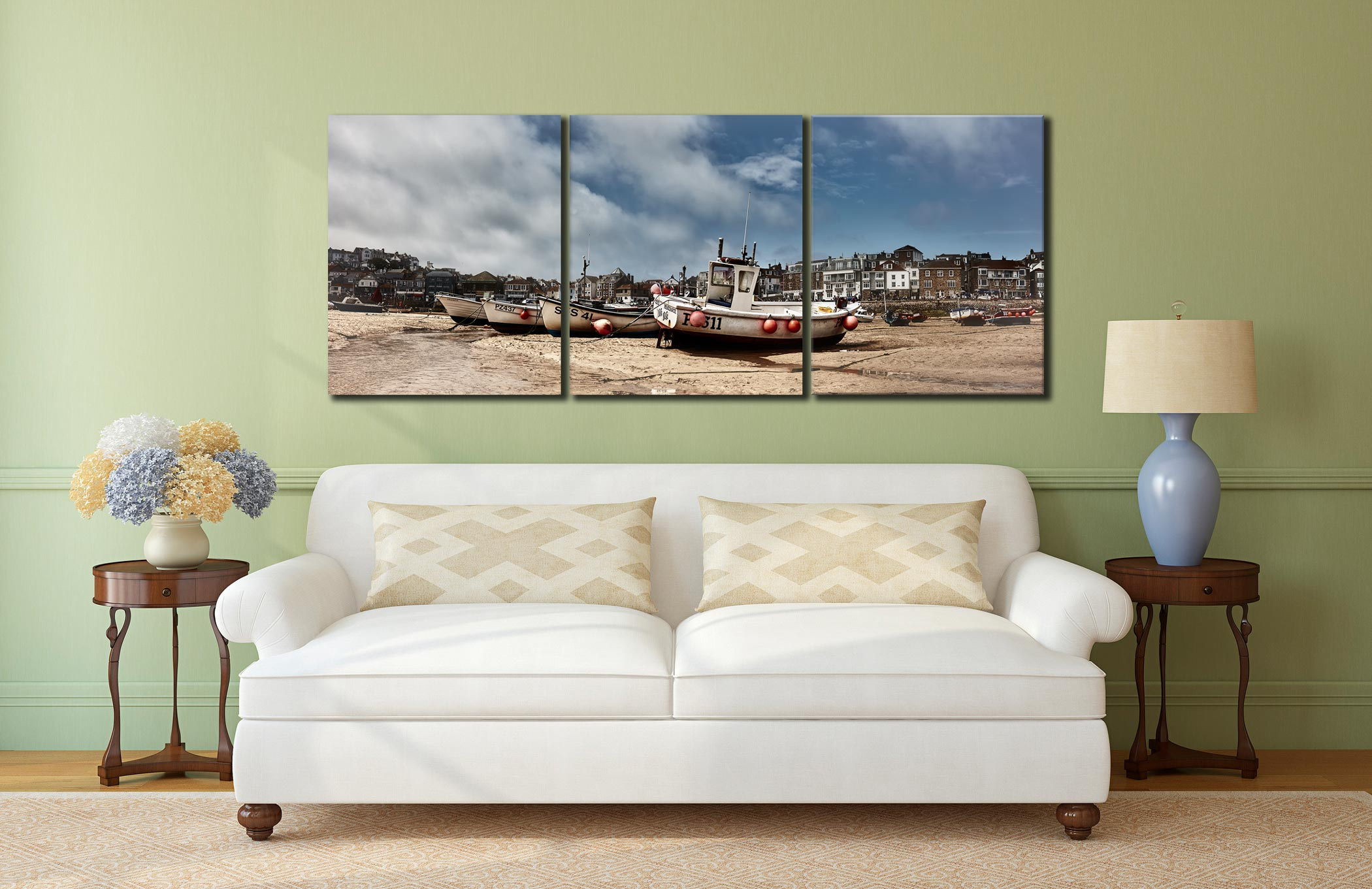 White Boats St Ives - 3 Panel Canvas on Wall