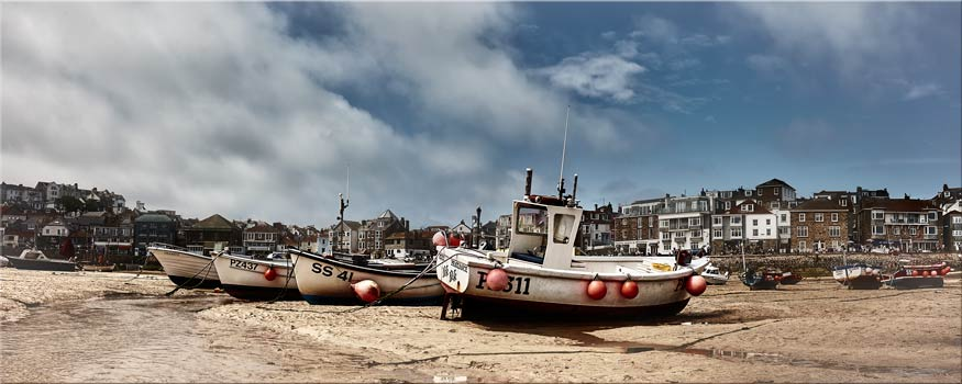 White Boats St Ives - Canvas Print