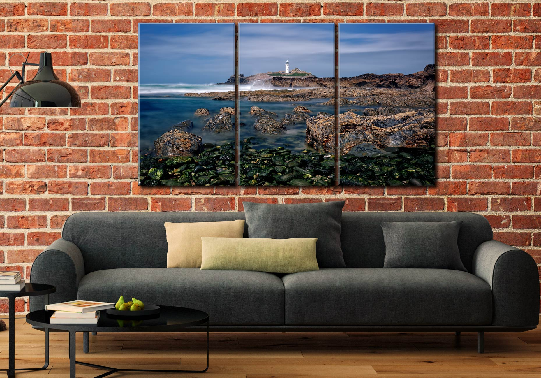 Godrevy Point Lighthouse and Rocks - 3 Panel Canvas on Wall