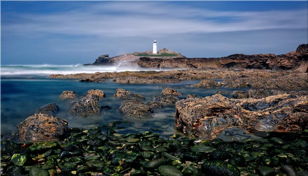 Godrevy Point Lighthouse and Rocks - Cornwall Canvas