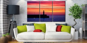 Lighthouse and the Lamp - 3 Panel Canvas on Wall
