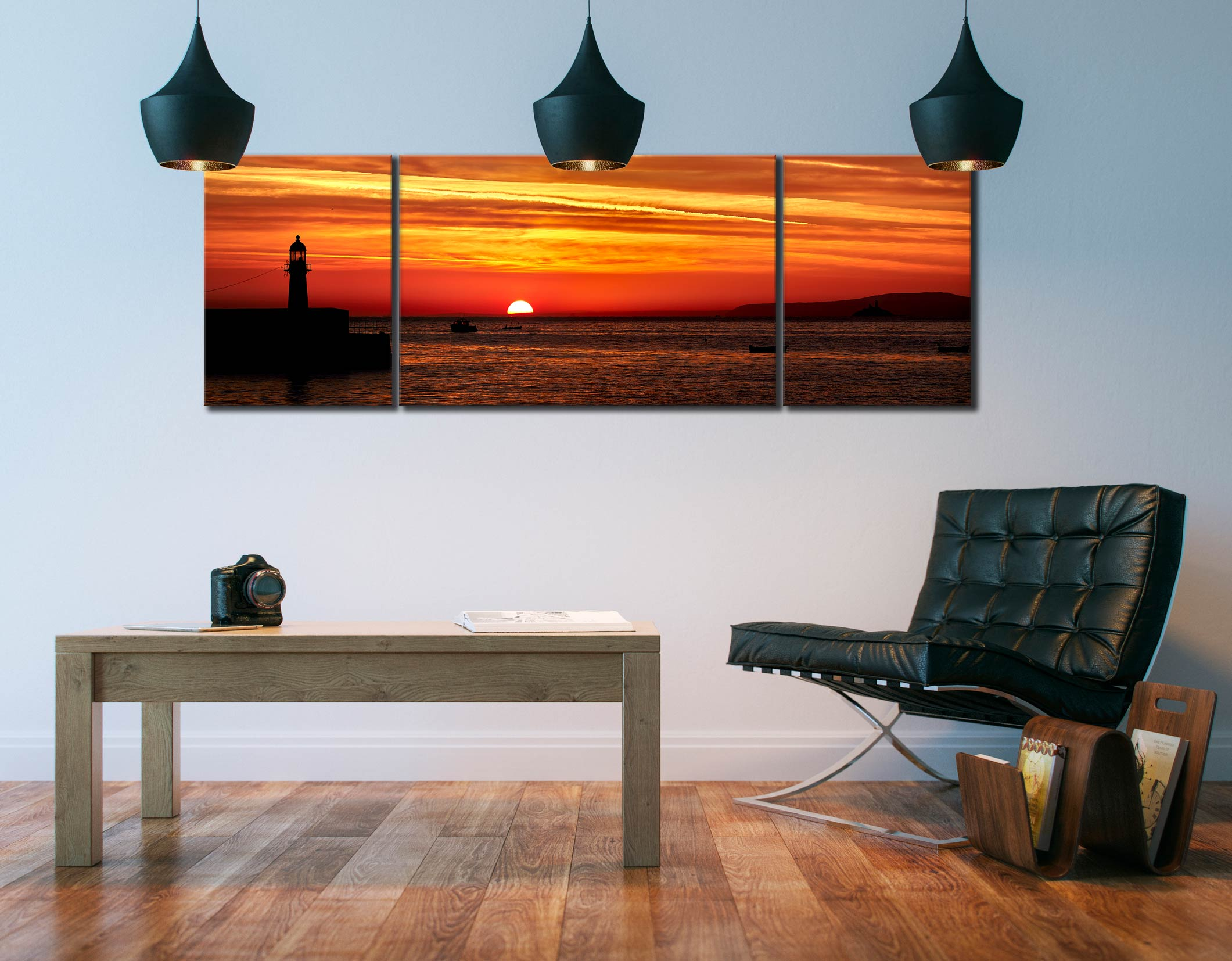Dawn Breaking Over St Ives Bay - 3 Panel Wide Mid Canvas on Wall