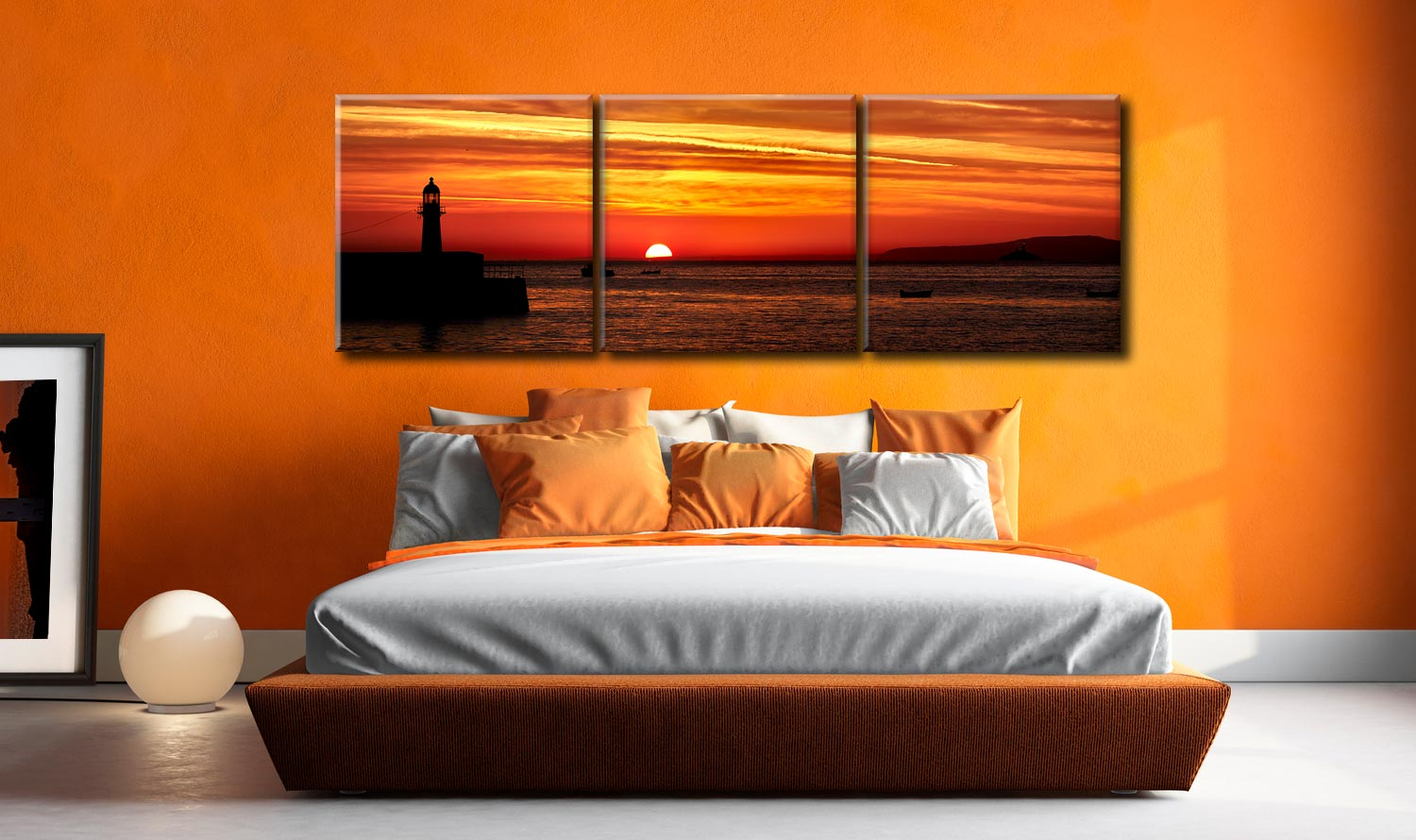 Dawn Breaking Over St Ives Bay - 3 Panel Canvas on Wall