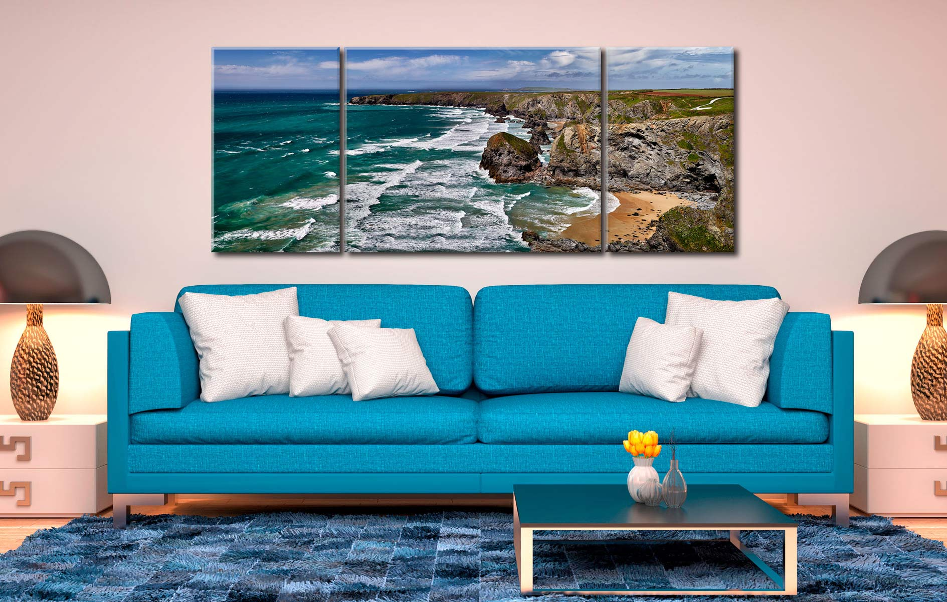 Summer Bedruthan Steps Panorama - 3 Panel Wide Mid Canvas on Wall