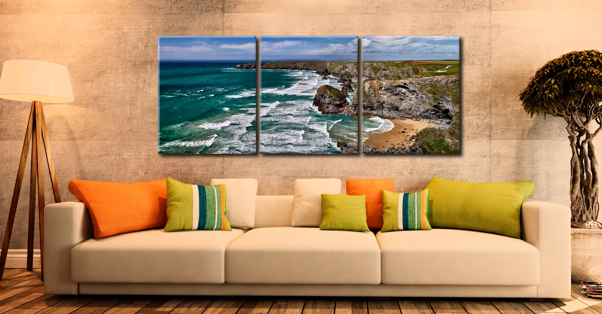 Summer Bedruthan Steps Panorama - 3 Panel Canvas on Wall