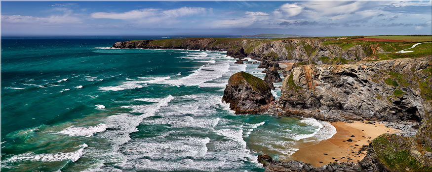 Summer Bedruthan Steps Panorama - Canvas Print
