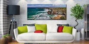 Summer Bedruthan Steps Panorama - Canvas Print on Wall