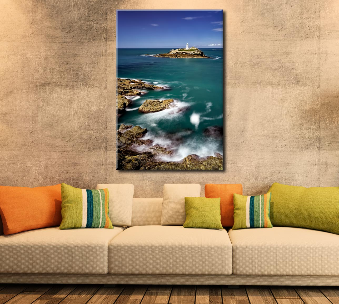 Green Ocean at Godrevy Point - Cornwall Canvas on Wall