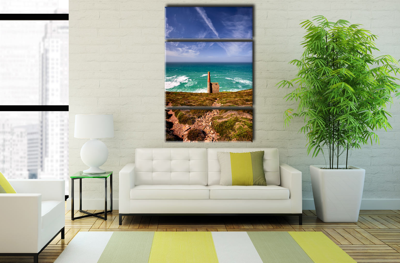 St Agnes Mine Cornwall  - A 3 panel wide centre canvas on Wall