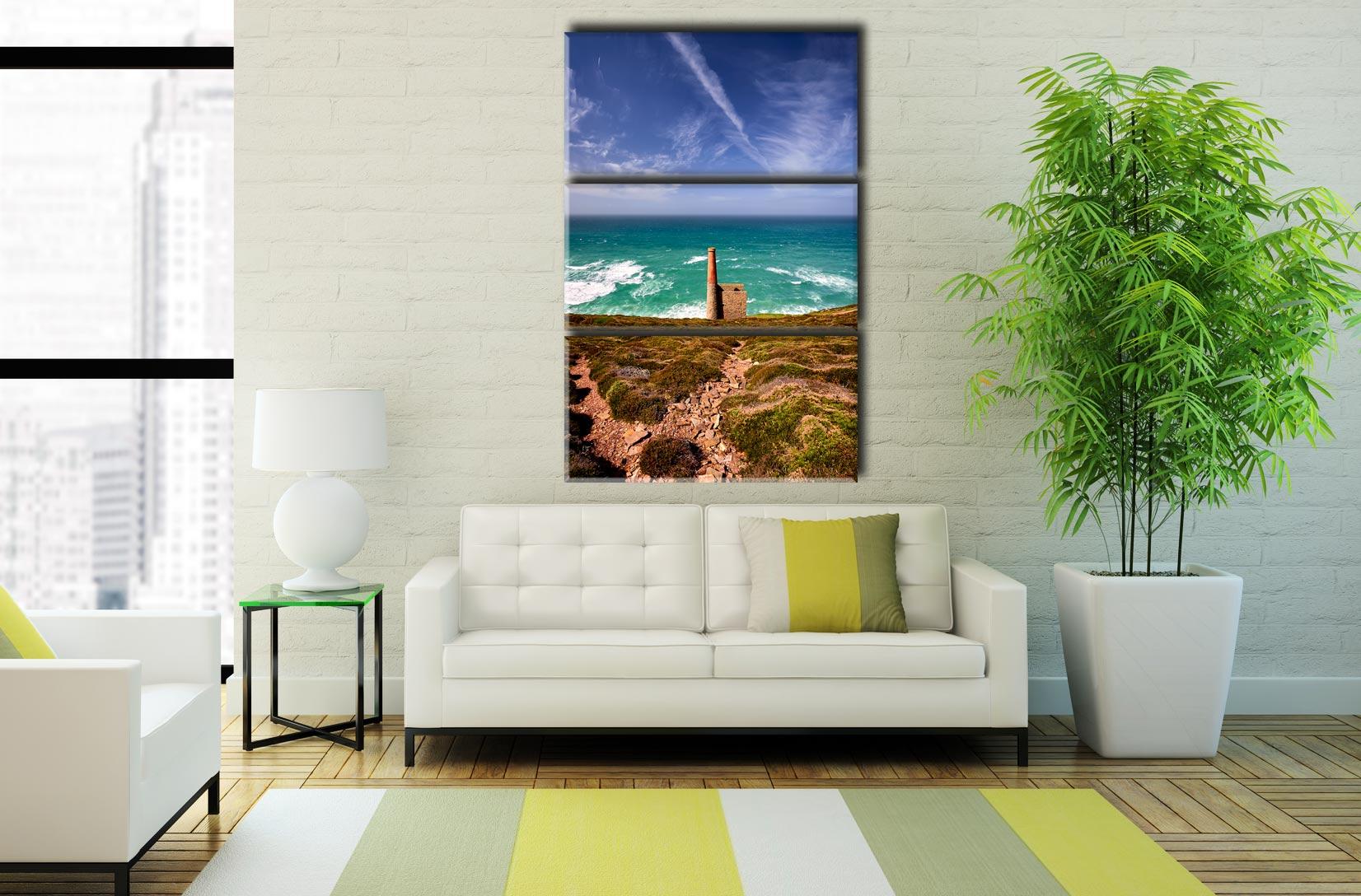 St Agnes Mine Cornwall - 3 Panel Canvas on Wall