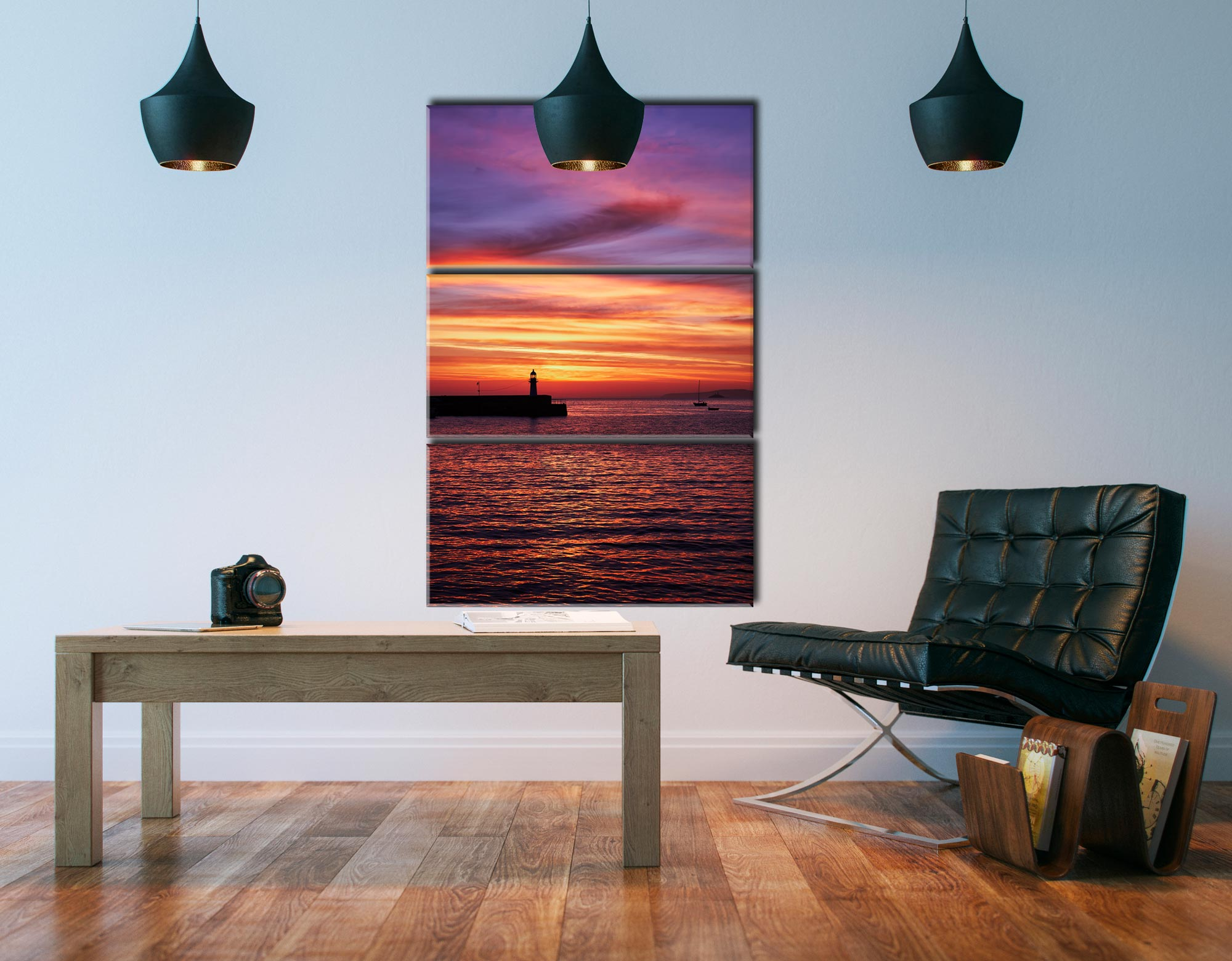 Dawn St Ives Lighthouse - 3 Panel Canvas on Wall