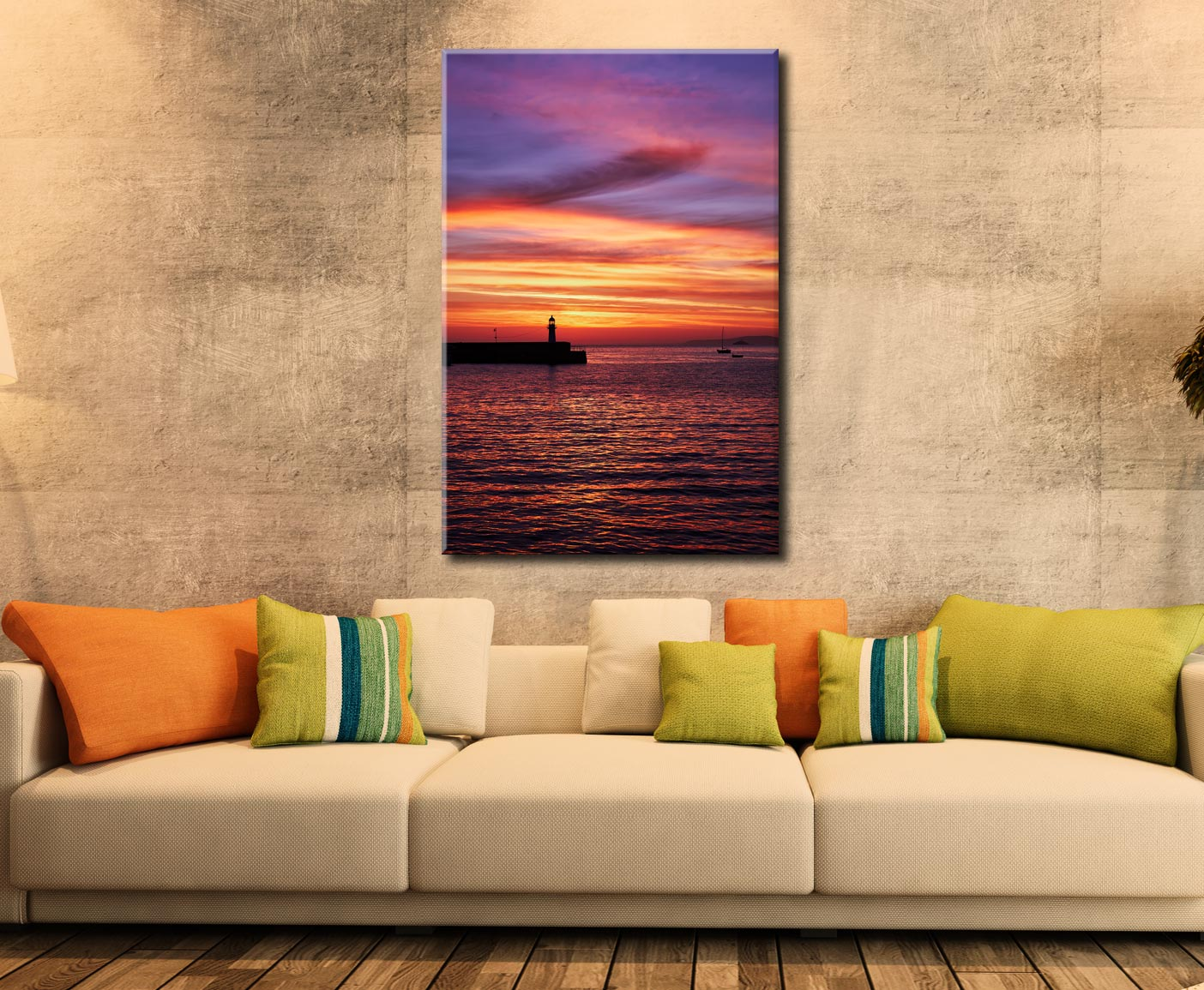 Dawn St Ives Lighthouse - Cornwall Canvas on Wall