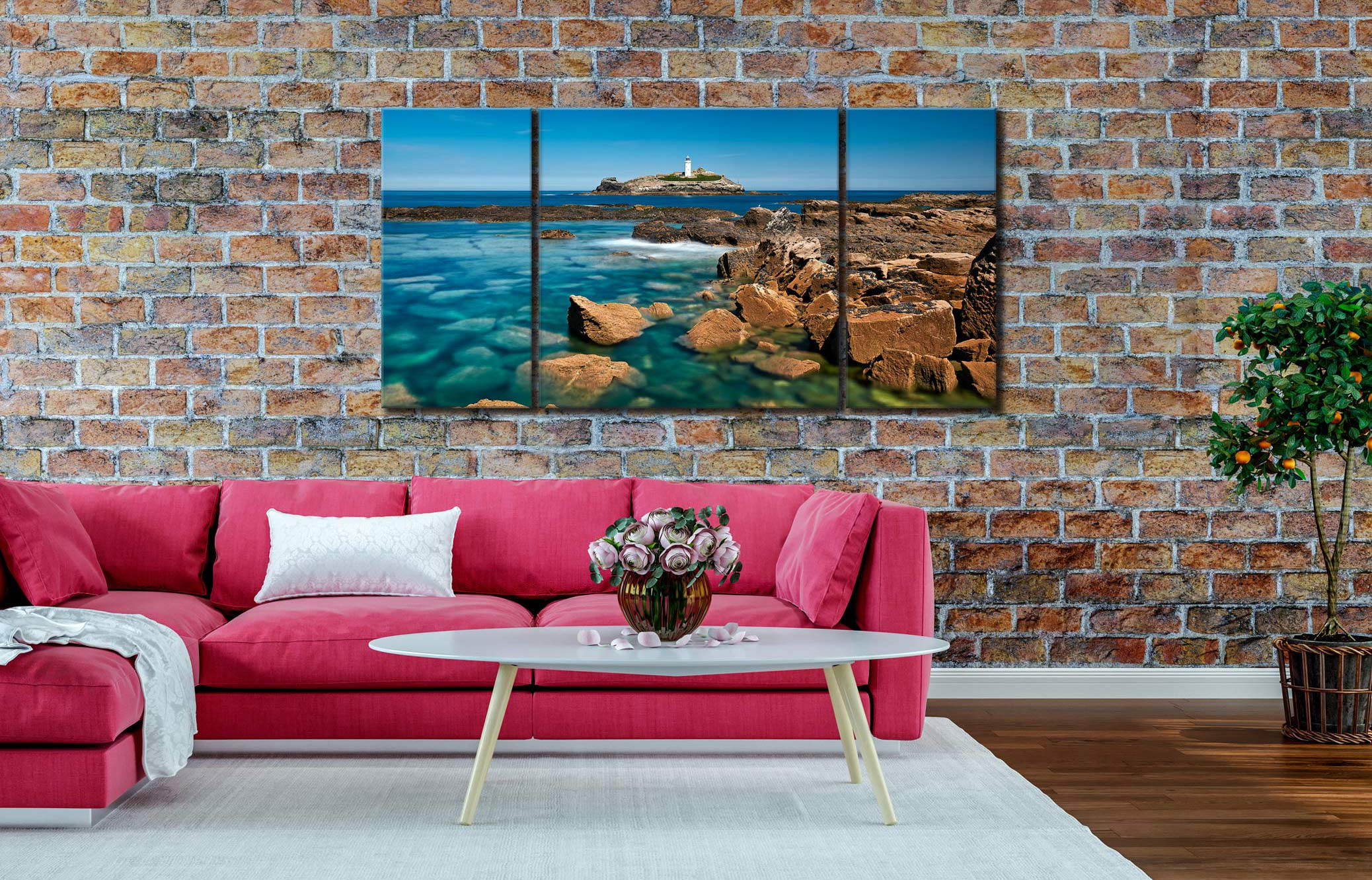 Calm Waters of Godrevy Point - 3 Panel Wide Centre Canvas on Wall