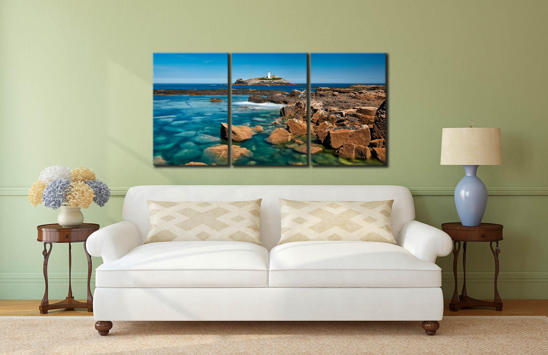 Calm Waters of Godrevy Point - 3 Panel Canvas on Wall