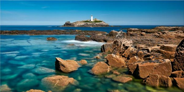 Calm Waters of Godrevy Point - Canvas Print