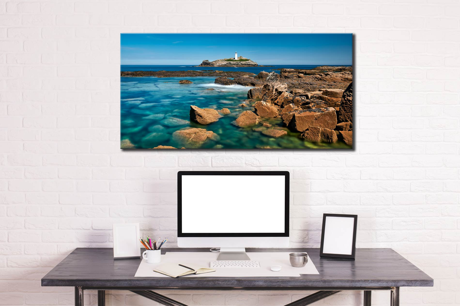 Calm Waters of Godrevy Point - Canvas Print on Wall