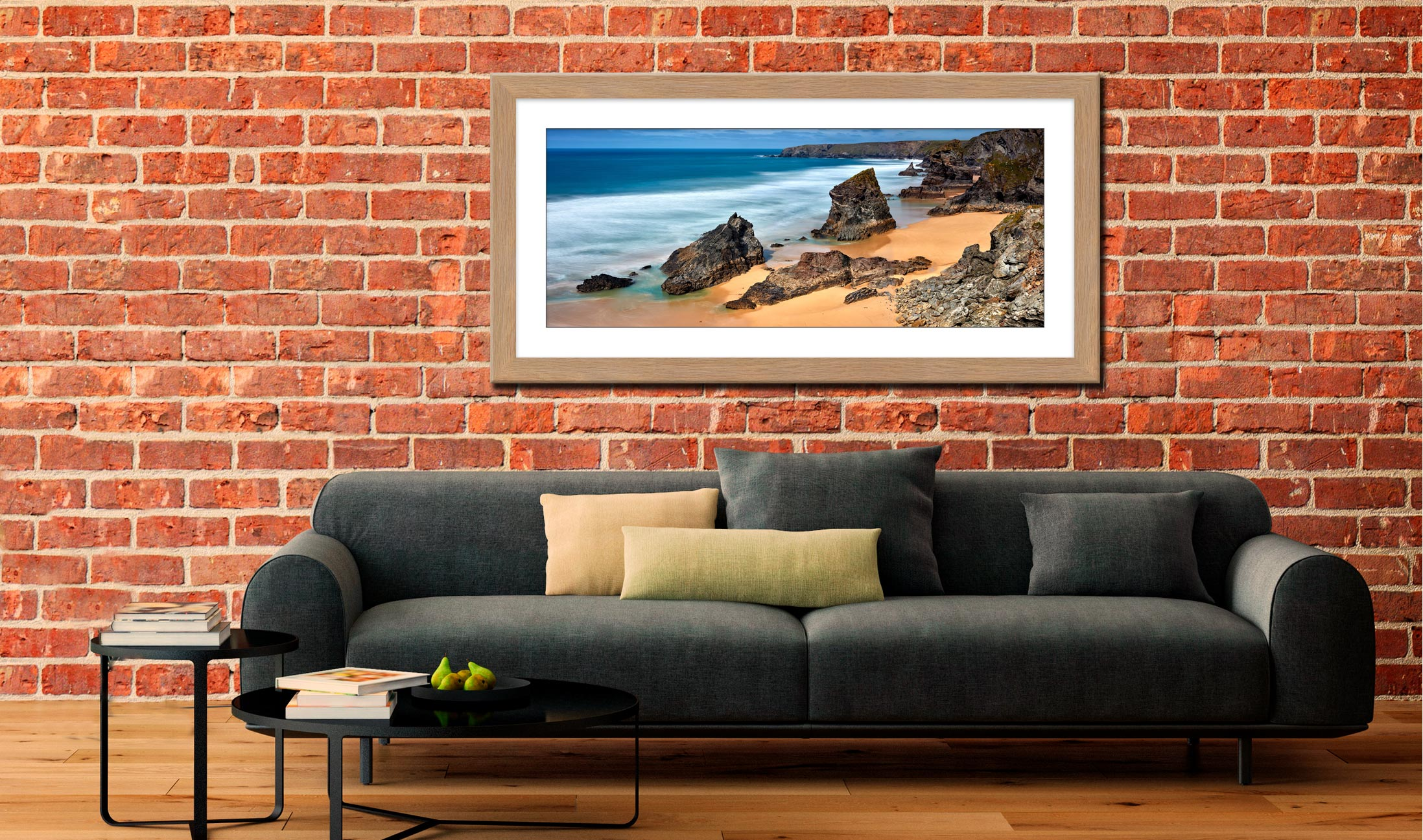 Postcard From Bedruthan Steps - Framed Print with Mount on Wall