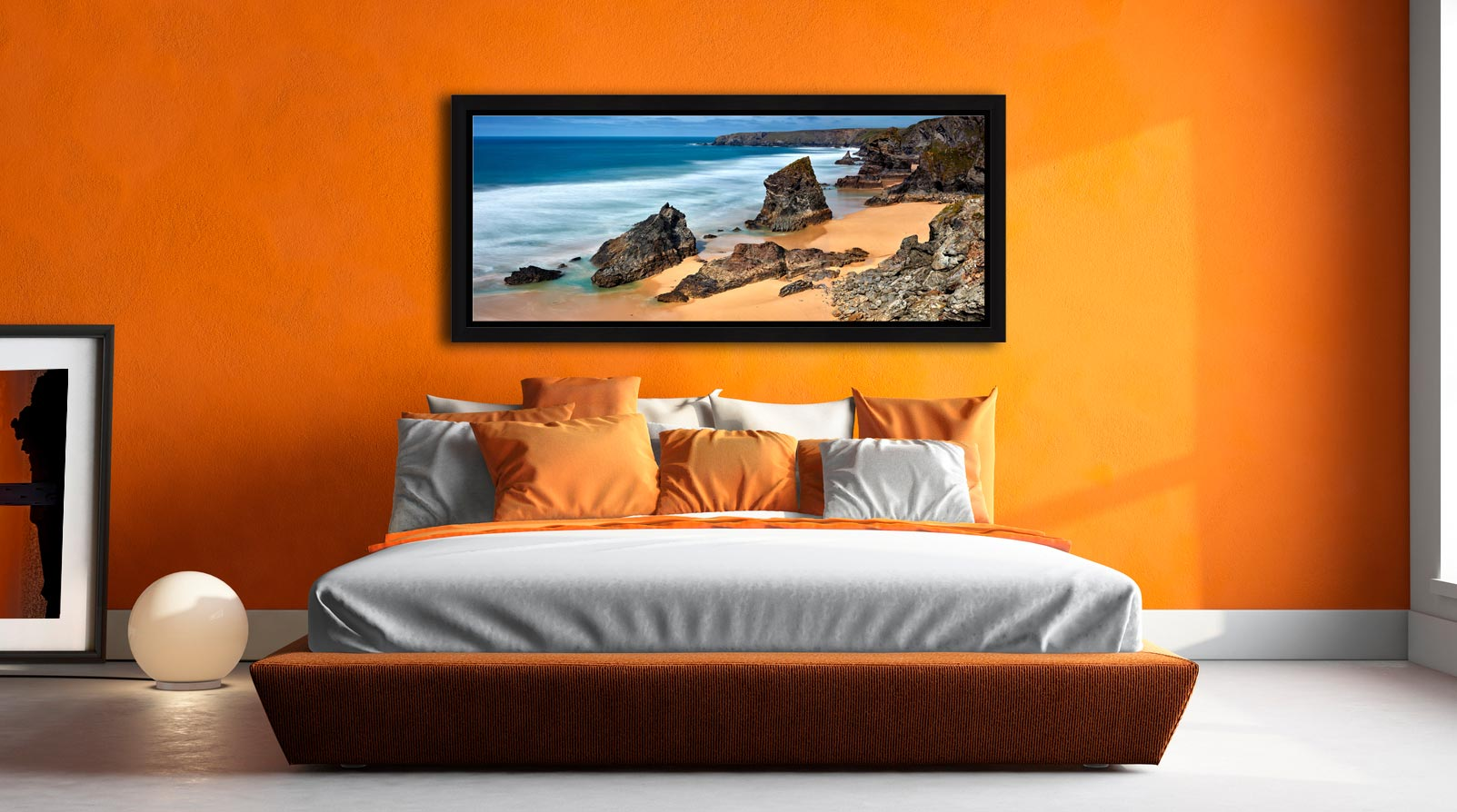 The wonderful rock stacks at Carnewas Point/Bedruthan Steps on the north Cornish coast - Black oak floater frame with acrylic glazing on Wall