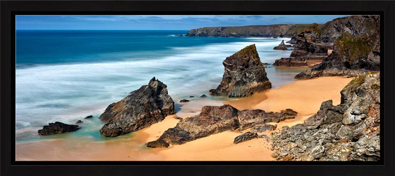 The wonderful rock stacks at Carnewas Point/Bedruthan Steps on the north Cornish coast - Black oak floater frame with acrylic glazing