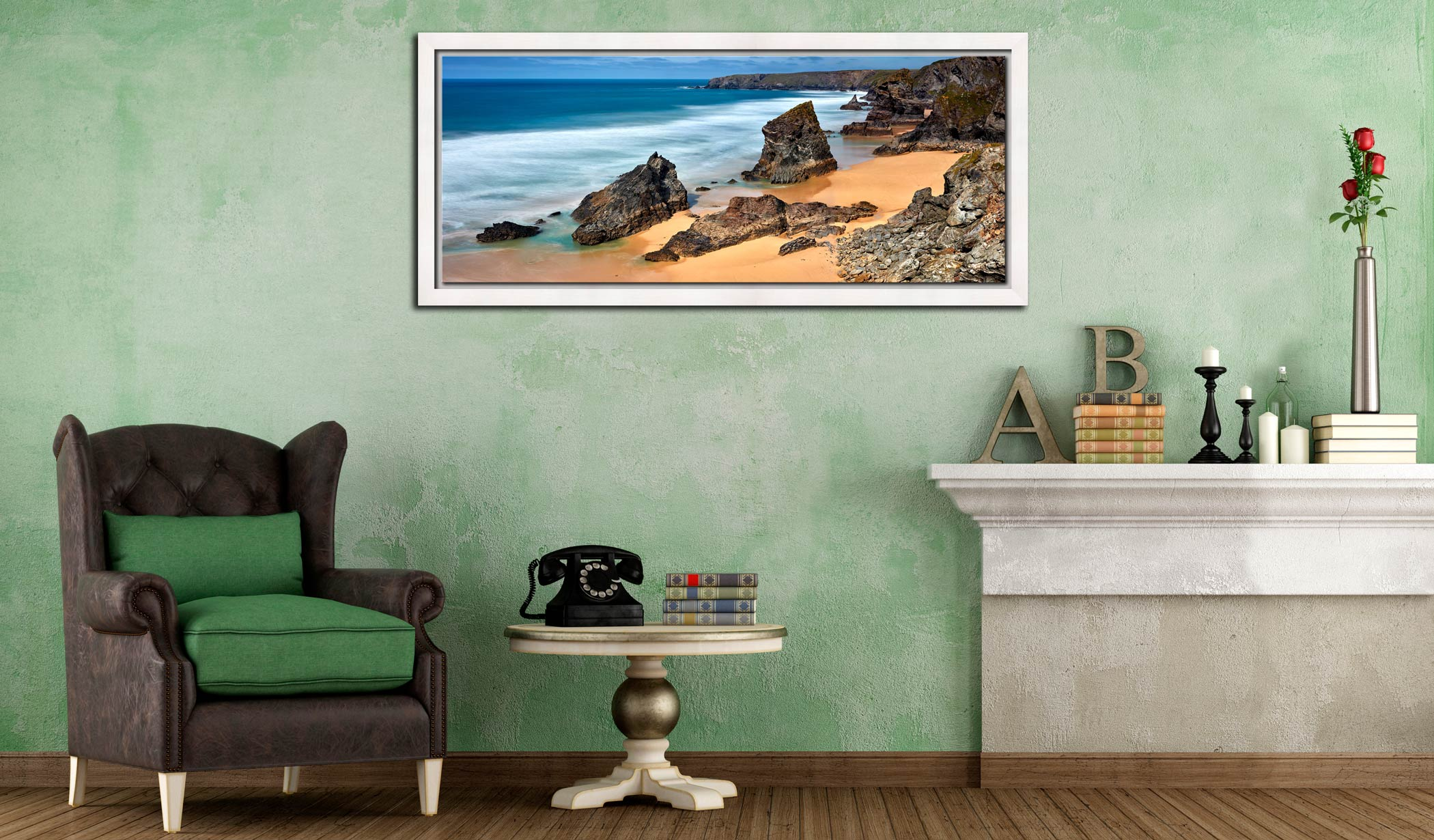 The wonderful rock stacks at Carnewas Point/Bedruthan Steps on the north Cornish coast - White Maple floater frame with acrylic glazing on Wall