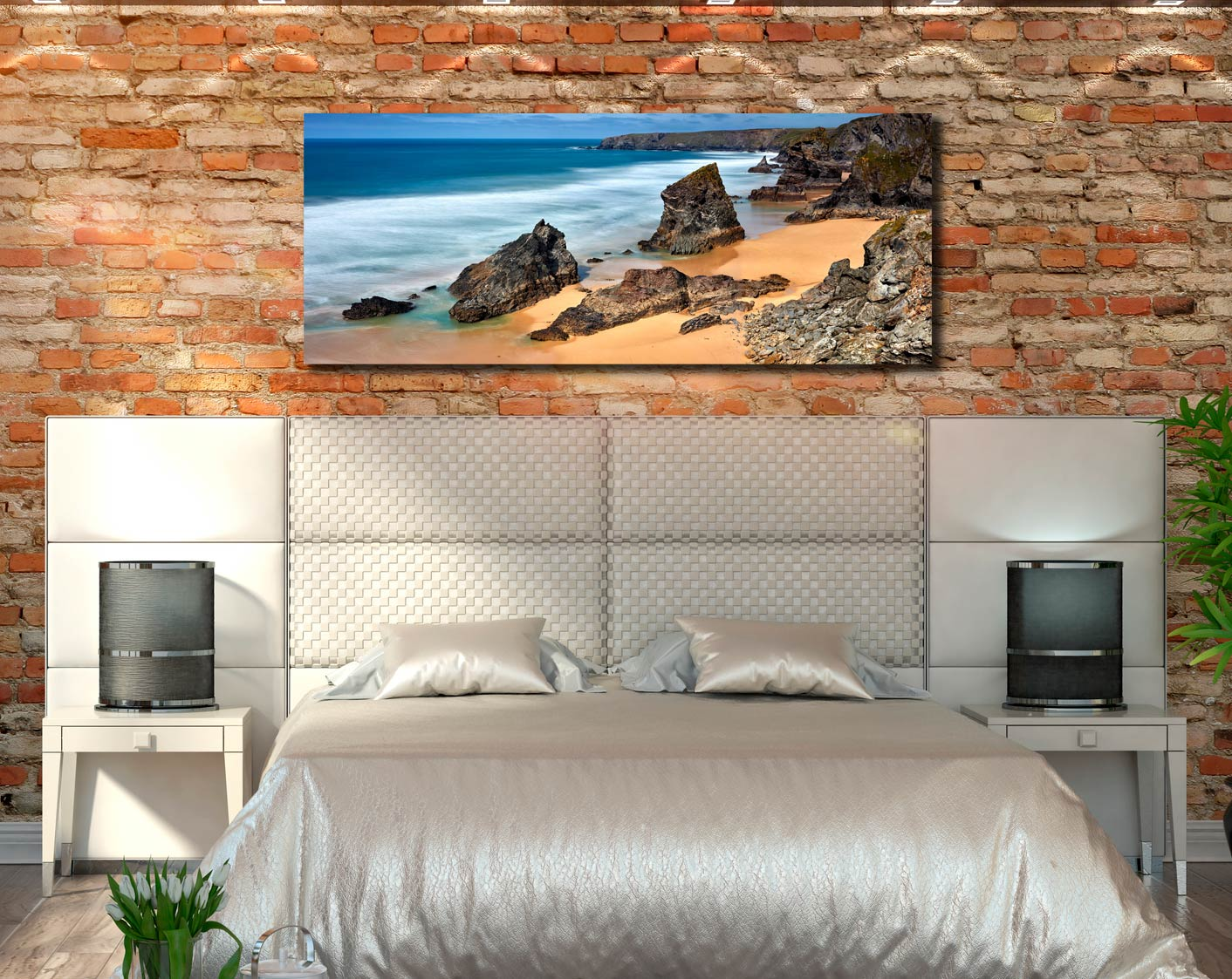 The wonderful rock stacks at Carnewas Point/Bedruthan Steps on the north Cornish coast - Print Aluminium Backing With Acrylic Glazing on Wall