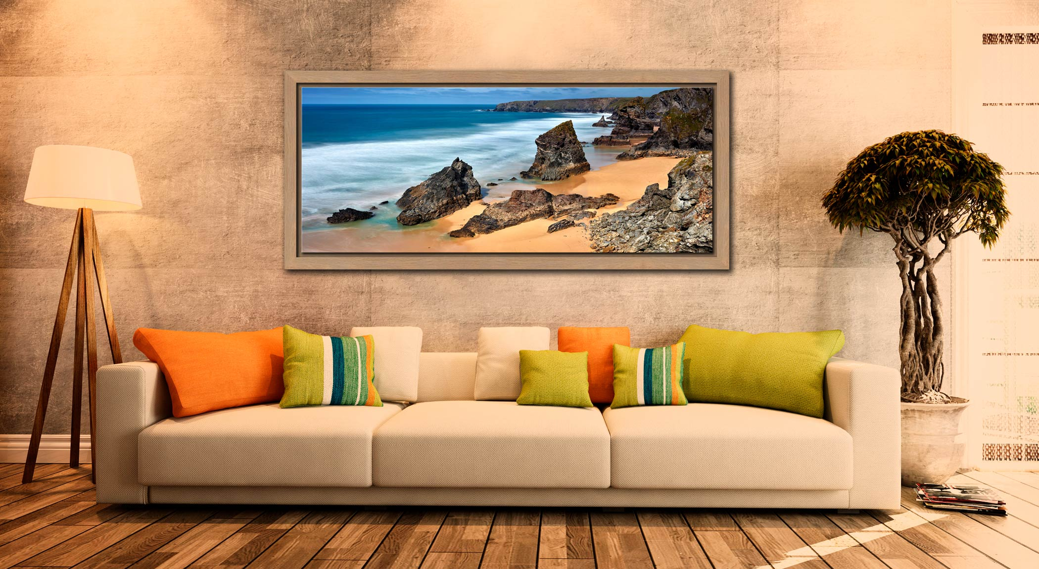 The wonderful rock stacks at Carnewas Point/Bedruthan Steps on the north Cornish coast - Oak floater frame with acrylic glazing on Wall