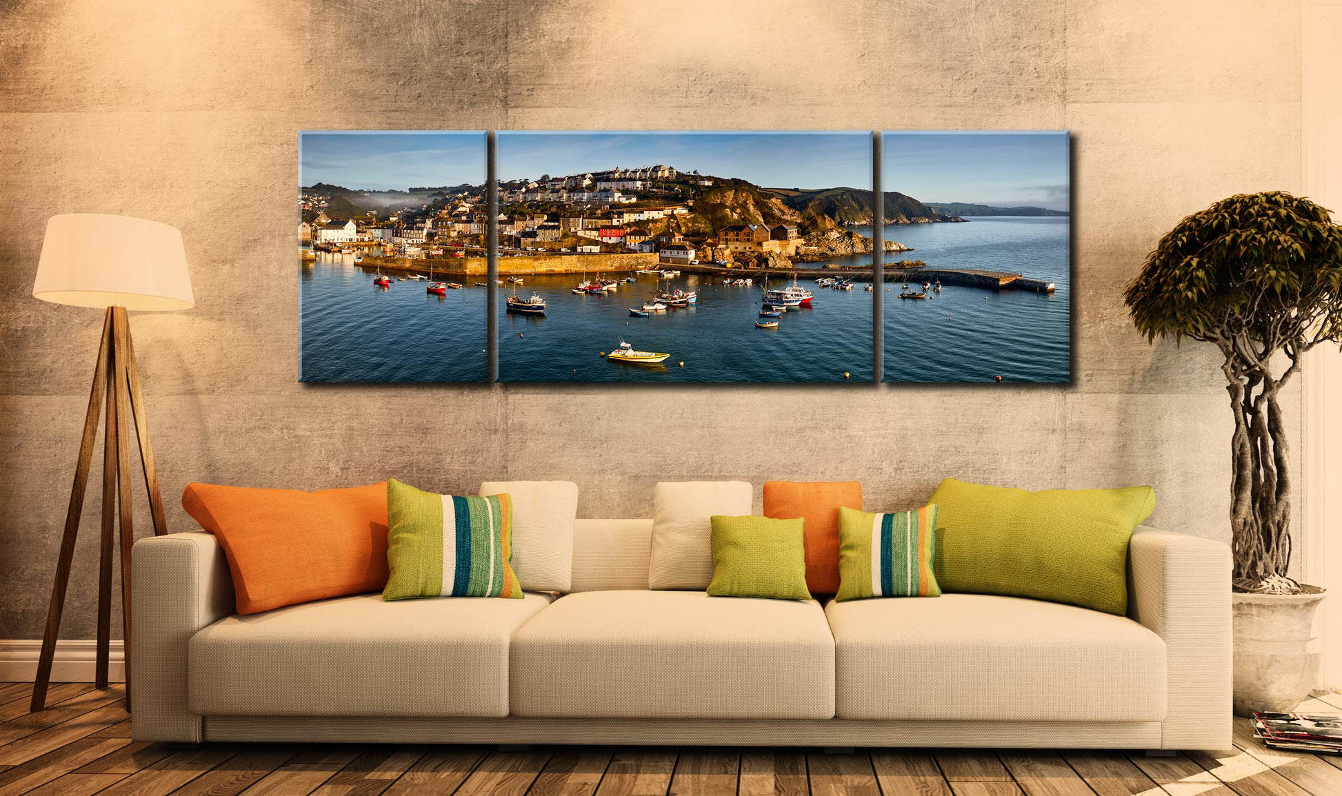 Mevagissy Harbour Panorama - 3 Panel Wide Mid Canvas on Wall