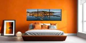 Mevagissy Harbour Panorama - 3 Panel Canvas on Wall