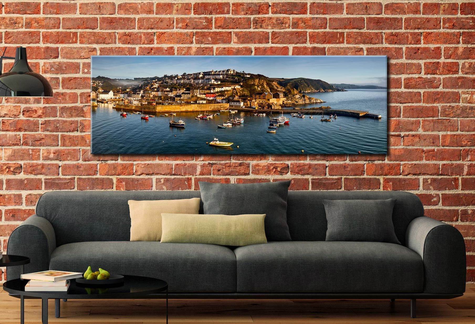 Mevagissy Harbour Panorama Canvas on Wall