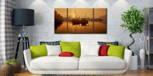Misty Mevagissy Harbour - 3 Panel Wide Centre Canvas on Wall